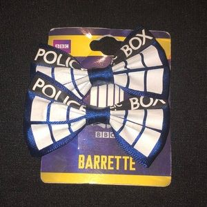 Doctor Who Cosplay Hair Bows Barrette Police NWT